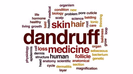 fyziologie : Dandruff animated word cloud, text design animation.