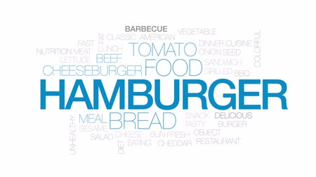 sanduíche : Hamburger animated word cloud, text design animation. Kinetic typography.