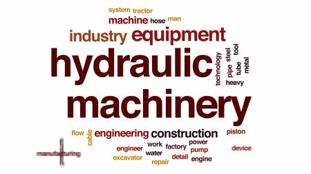 hydraulic : Hydraulic machinery animated word cloud, text design animation.