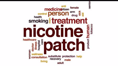 addiction recovery : Nicotine patch animated word cloud, text design animation.
