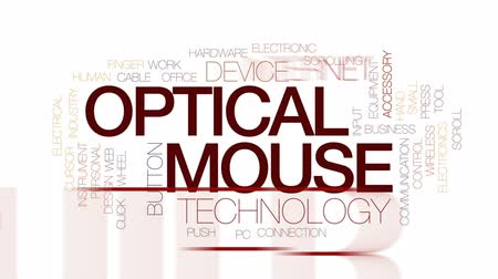 mysz : Optical mouse animated word cloud, text design animation. Kinetic typography. Wideo