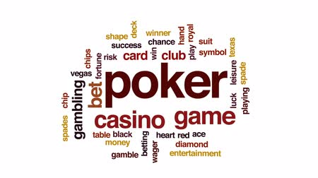 as : Poker animated word cloud, text design animation.