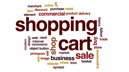 торговый : Shopping cart animated word cloud, text design animation.