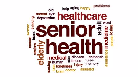 preocupar se : Senior health animated word cloud, text design animation.