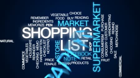 домохозяйка : Shopping list animated word cloud, text design animation.
