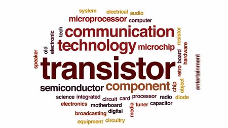 tranzistor : Transistor animated word cloud, text design animation.