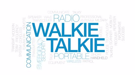 transmit : Walkie talkie animated word cloud, text design animation. Kinetic typography. Stock Footage
