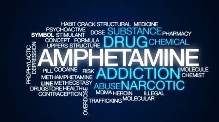 abuso : Amphetamine animated word cloud, text design animation. Stock Footage
