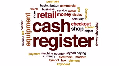 purchasing : Cash register animated word cloud, text design animation.