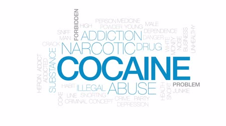 snorting : Cocaine animated word cloud, text design animation. Kinetic typography.