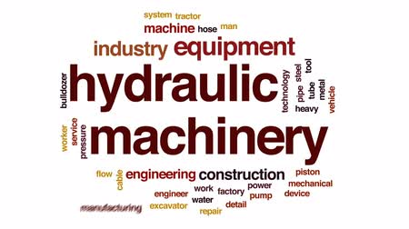 hidráulico : Hydraulic machinery animated word cloud, text design animation.