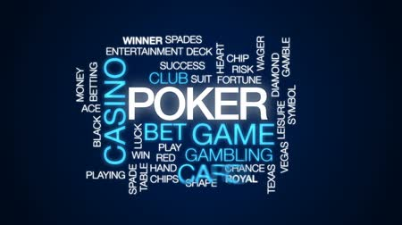 diamantes : Poker animated word cloud, text design animation.