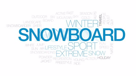 лыжник : Snowboard animated word cloud, text design animation. Kinetic typography. Стоковые видеозаписи