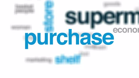 supermarket shelf : Supermarket animated word cloud, text design animation. Stock Footage