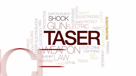 guns : Taser animated word cloud, text design animation. Kinetic typography.