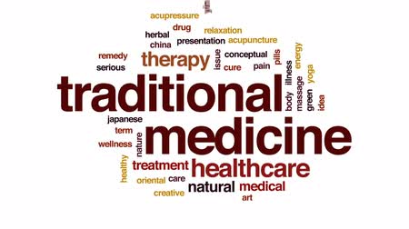 альтернатива : Traditional medicine animated word cloud, text design animation.