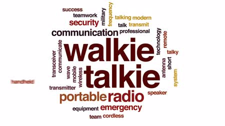 transmitir : Walkie talkie animated word cloud, text design animation.