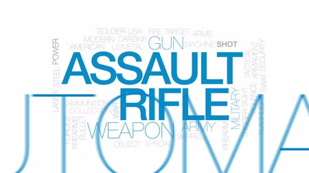karabély : Assault rifle animated word cloud, text design animation. Kinetic typography.