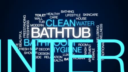 tuvalet : Bathtub animated word cloud, text design animation. Stok Video
