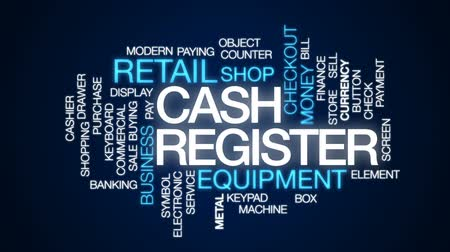 registrar : Cash register animated word cloud, text design animation.