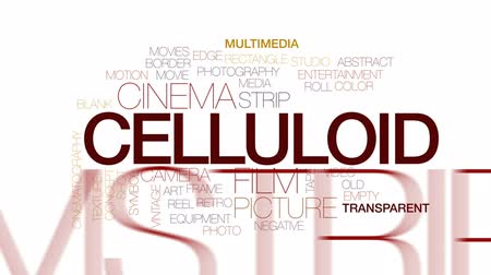 film camera : Celluloid animated word cloud, text design animation. Kinetic typography. Stock Footage