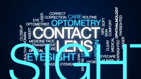 soczewki kontaktowe : Contact lens animated word cloud, text design animation. Wideo