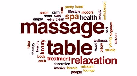 taberna : Massage table animated word cloud, text design animation.