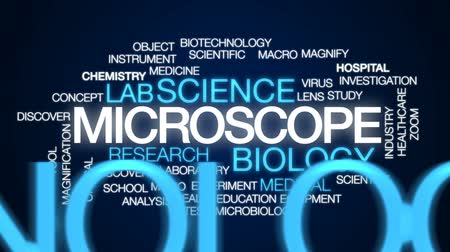 microbiologia : Microscope animated word cloud, text design animation.