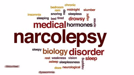 bezsennosć : Narcolepsy animated word cloud, text design animation.