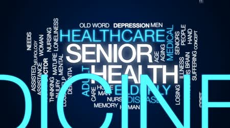 idade média : Senior health animated word cloud, text design animation.