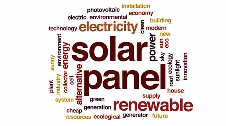 fotovoltaik : Solar panel animated word cloud, text design animation.