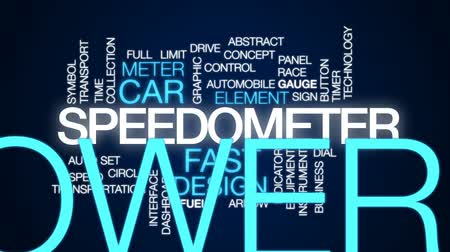 velocímetro : Speedometer animated word cloud, text design animation. Stock Footage