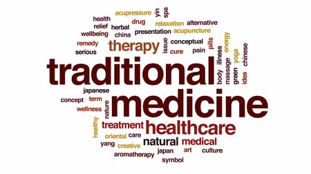 akupresura : Traditional medicine animated word cloud, text design animation.