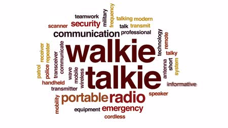 frequentie : Walkie-talkie geanimeerde woordwolk, tekstontwerpanimatie. Stockvideo