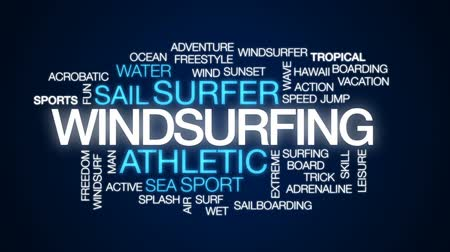 windsurfen : Animierte Wortwolke des Windsurfens, Textdesignanimation.