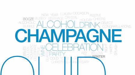 na zdraví : Champagne animated word cloud, text design animation. Kinetic typography.