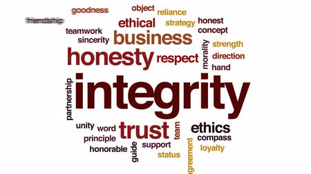 kompas : Integrity animated word cloud, text design animation.