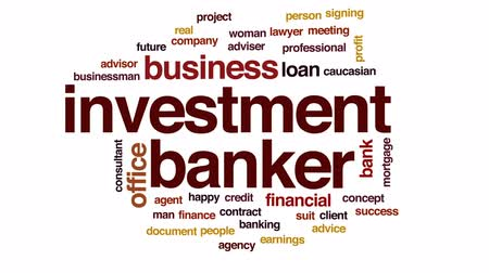 bankier : Investment banker animated word cloud, text design animation. Wideo
