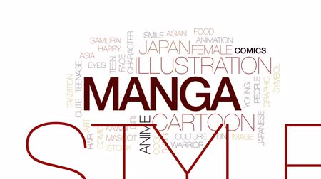 samuraj : Manga animated word cloud, text design animation. Kinetic typography.