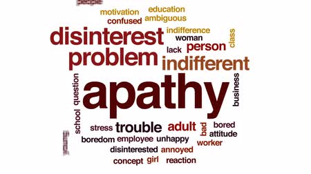 otázky : Apathy animated word cloud, text design animation.