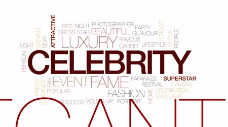 fame : Celebrity animated word cloud, text design animation. Kinetic typography. Stock Footage
