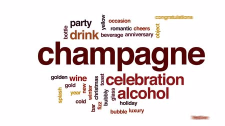 na zdraví : Champagne animated word cloud, text design animation.