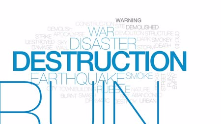 demolition : Destruction animated word cloud, text design animation. Kinetic typography.