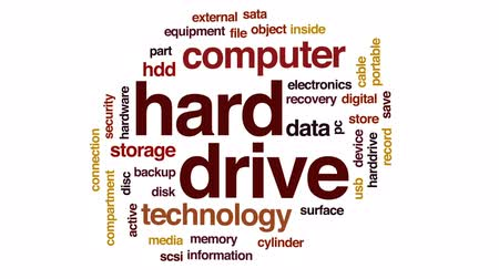 hdd : Hard drive animated word cloud, text design animation. Stock Footage