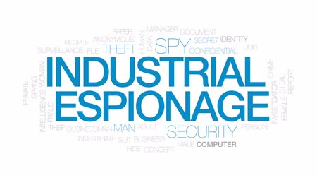 investigar : Industrial espionage animated word cloud, text design animation. Kinetic typography. Vídeos