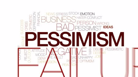 optimistický : Pessimism animated word cloud, text design animation. Kinetic typography.