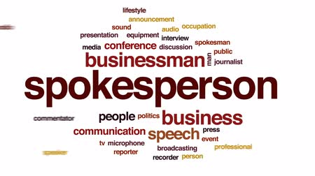 press conference : Spokesperson animated word cloud, text design animation. Stock Footage