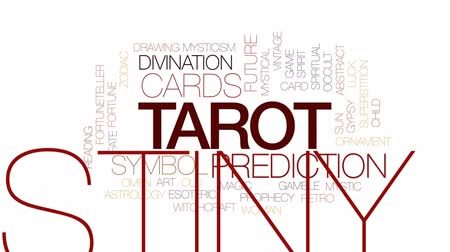 superstição : Tarot animated word cloud, text design animation. Kinetic typography. Vídeos