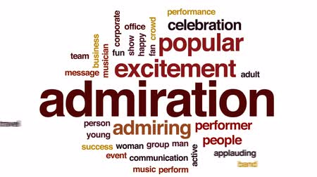 spectator : Admiration animated word cloud, text design animation. Stock Footage