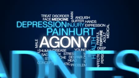 штамм : Agony animated word cloud, text design animation. Стоковые видеозаписи